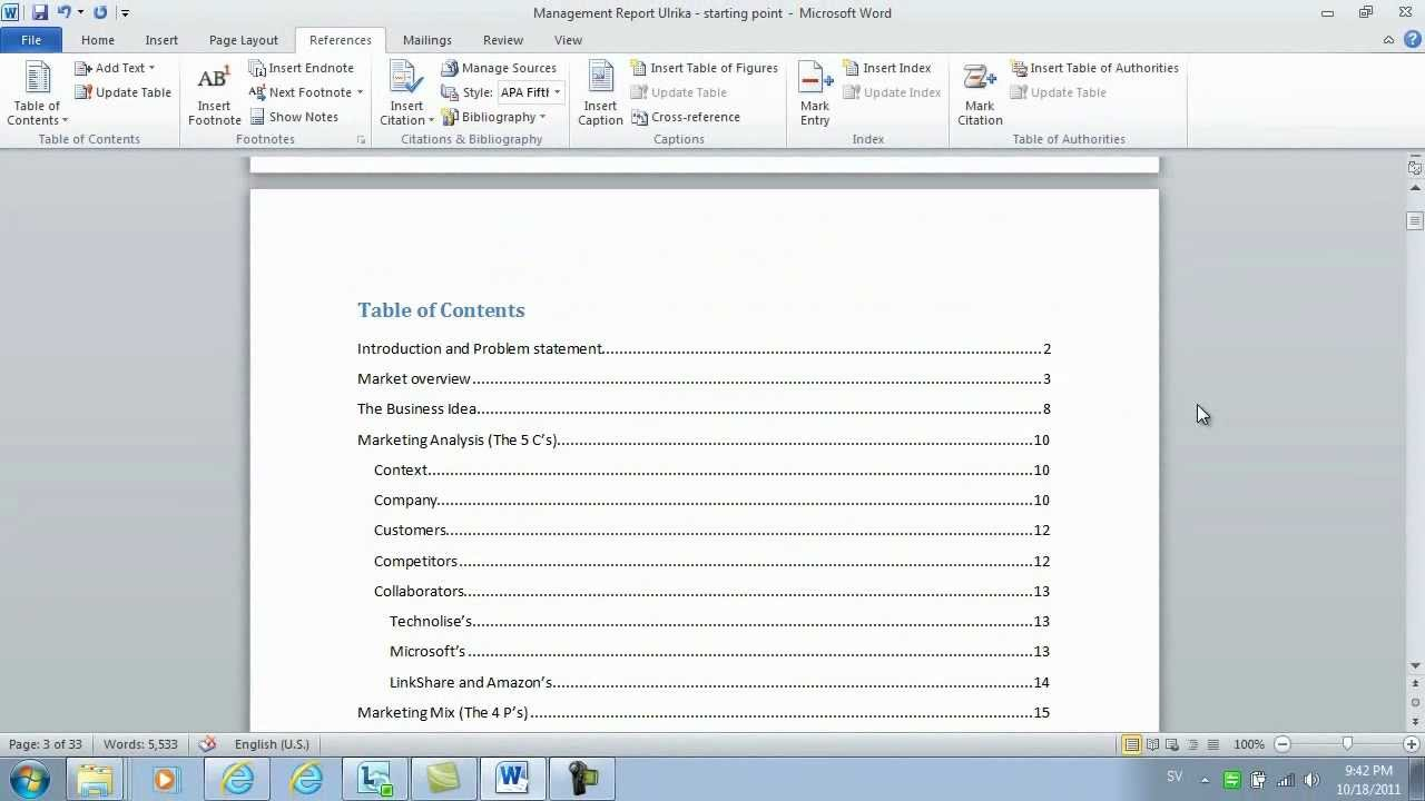 how to insert page numbers and a table of contents using microsoft