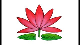 How to draw Water lily easy and simple | Shapla ful Art