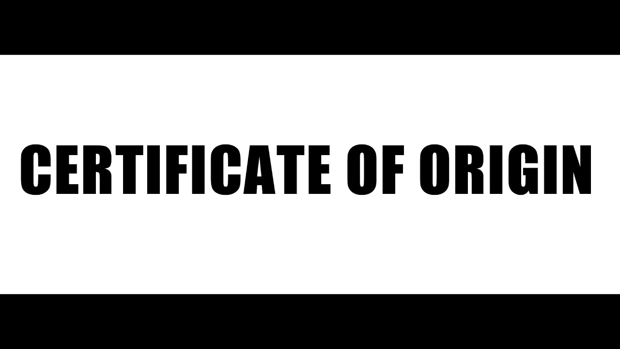 Certificate Of Origin Meaning Format Youtube
