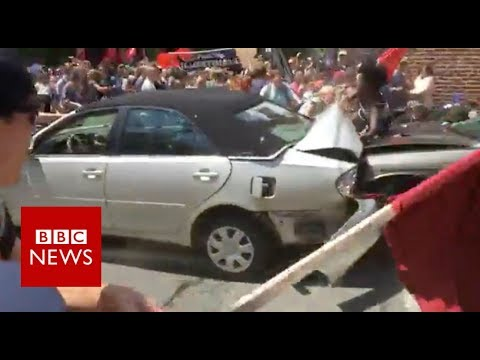 Car rams into crowd of people at Charlottesville rally - BBC News