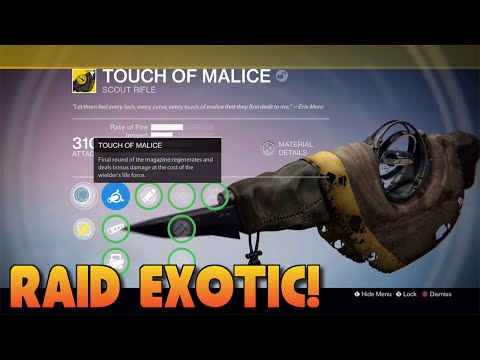 Destiny - HOW TO GET TOUCH OF MALICE - RAID EXOTIC PRIMARY GUN! (Destiny The Taken King)