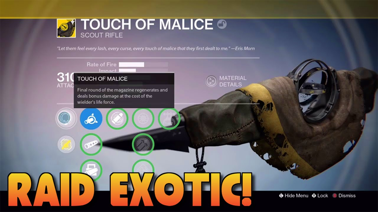Destiny - HOW TO GET TOUCH OF MALICE - RAID EXOTIC PRIMARY GUN ...
