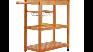 Homcom Portable Wooden Rolling Storage Cart Kitchen Trolley W