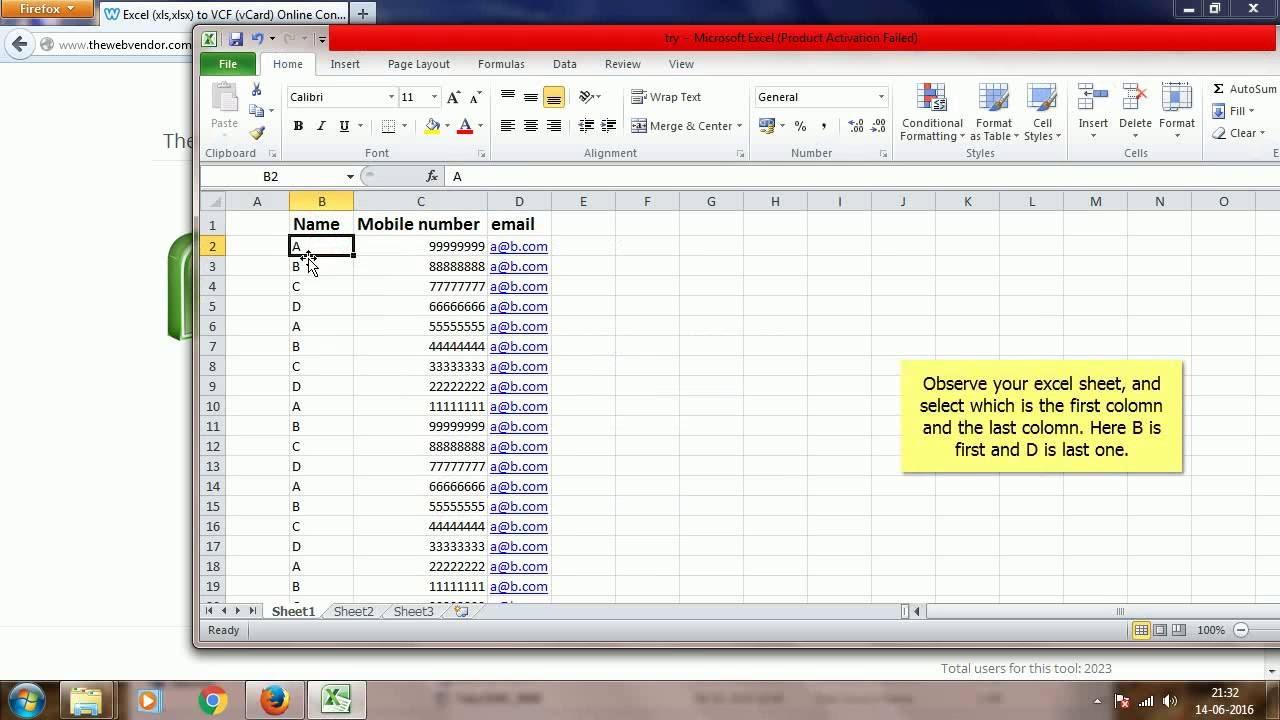 How to convert contacts in Excel (xlsx,xls,csv) to VCF (vCard) online at  thewebvendor com in 2 mins