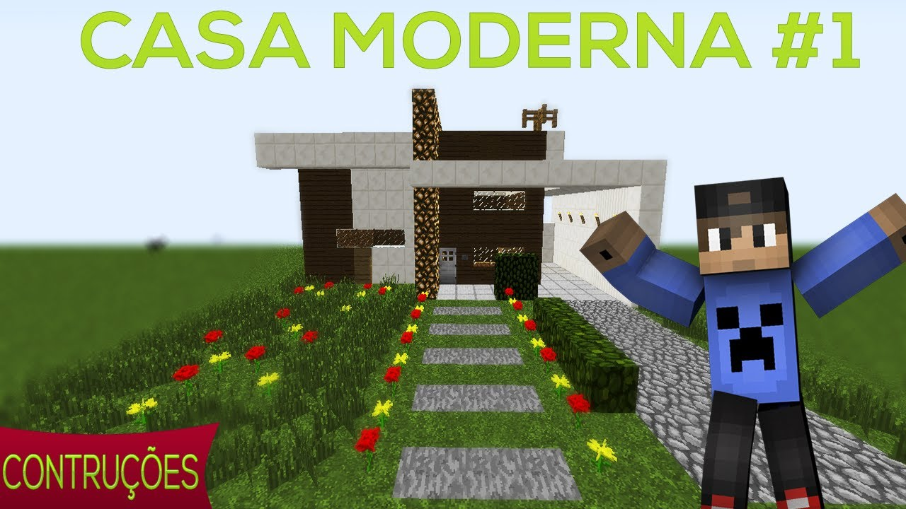 Tutoriais minecraft como construir uma casa moderna 1 for Casa moderna 10x10 minecraft