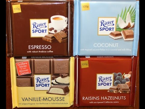 From Germany: Ritter Sport Espresso, Coconut, Vanille Mousse & Raisins Hazelnuts Review