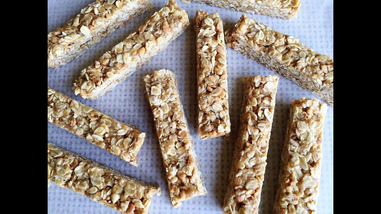 สูตรและวิธีทำข้าวโอ๊ตเนยถั่วอัดแท่งแบบไม่ต้องอบ / Peanut Butter Oat Bars  Recipe - YouTube