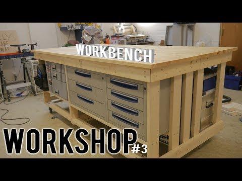 WORKSHOP (part 3) - DIY WORKBENCH on WHEELS | Storage | wood