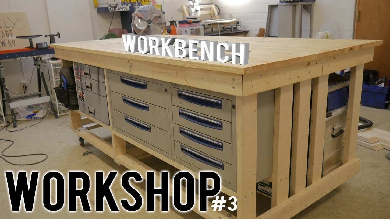 workshop (part 3) - diy workbench on wheels | storage | wood