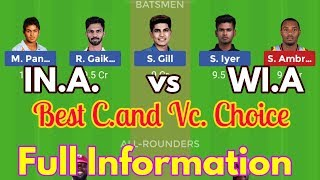 IND A vs WI A Dream11 Match   India A vs West Indies A 3rd Unofficial ODI
