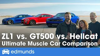 Ford Mustang Shelby GT500 vs. Dodge Challenger Hellcat vs. Chevy Camaro ZL1 - Muscle Car Comparison