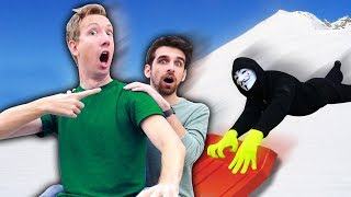 DANIEL ESCAPES PROJECT ZORGO SLEDDING with CWC (Exploring Scavenger Hunt Abandoned Riddles ...