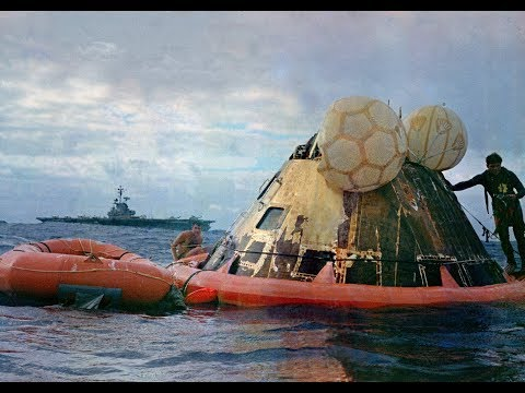 Apollo 11 Splashdown footage highlighting Navy Frogmen's role