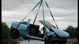 Car crash on Trent Bridge, wreck removal July 2013 Nottingham