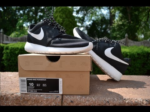 Nike Roshe Run | Womens Black / White [Review  On Feet] - YouTube
