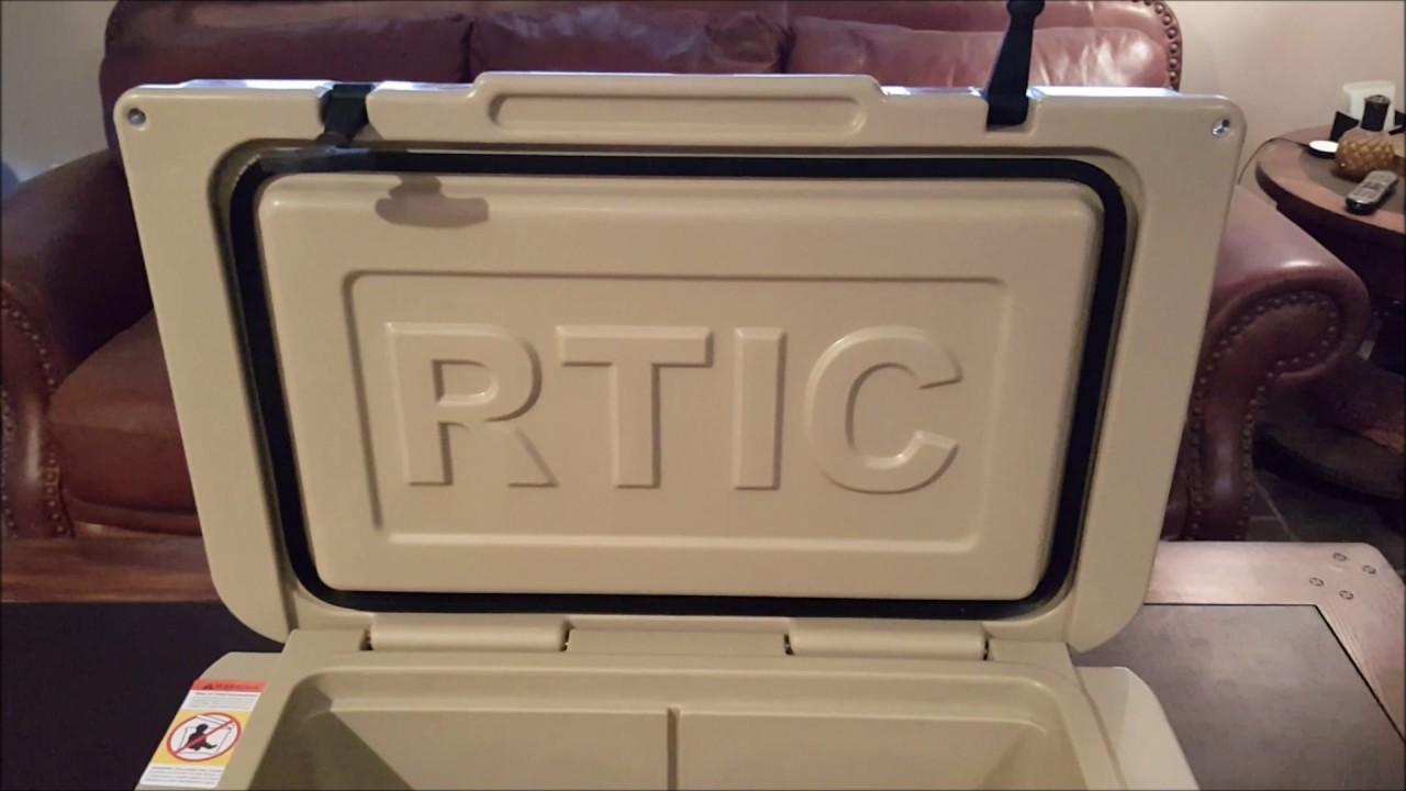 RTIC 45 quart cooler with divider, basket and bottle opener