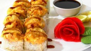 Запеченный ролл с кальмаром  Японская кухня. baked roll with squid.
