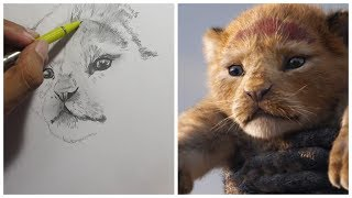 EASY DRAWING SIMBA FROM LION KING 2019 ONLY 2 HRS