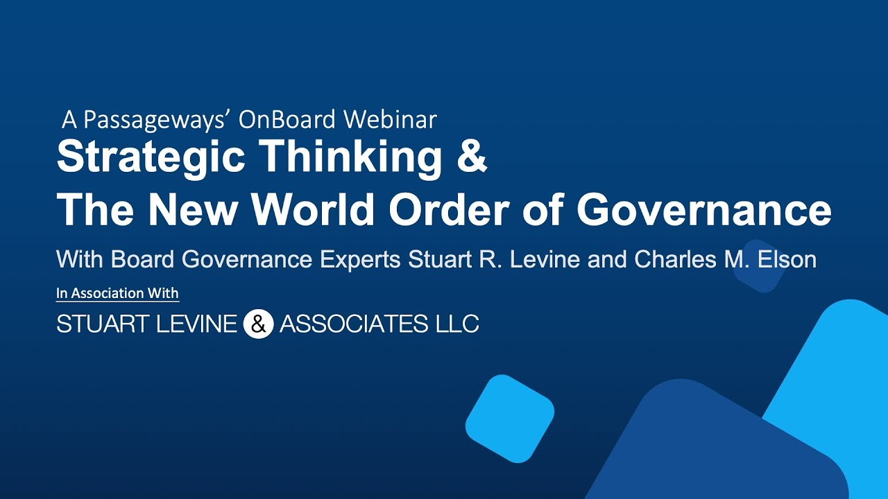 Strategic Thinking & The New World  Order of Governance Realities