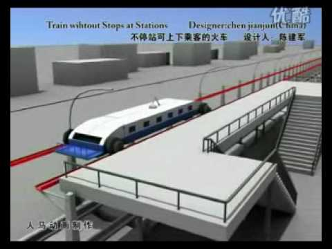 Future Train from China!  It doesn't stop but passengers get off and on!