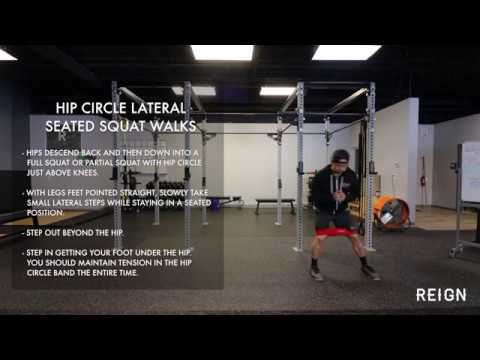 Hip Circle Lateral Seated Squat Walks | Exercise Demo Reign Fitness
