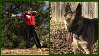 I'm practicing with my sling-shot while Odin Attacks Firewood! Subs...