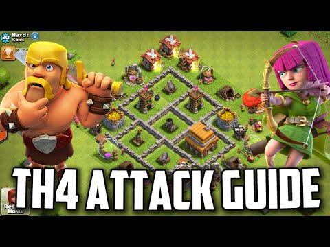 TH4 Attacking Guide/Tutorial *War/Trophy Farming* | Clash Of Clans