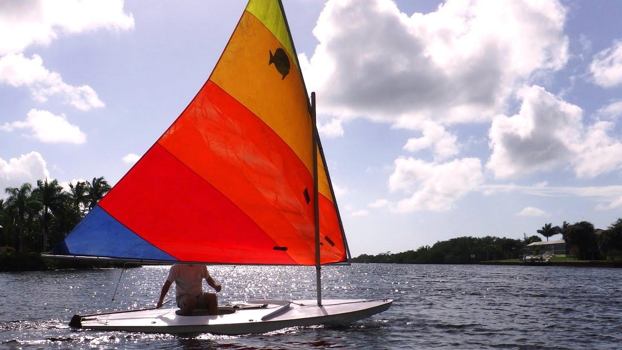 Sailing a Sunfish, Small Sailboat & Light Wind