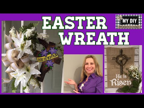 Easter wreath with cross | Religious Easter Decorations | INEXPENSIVE!