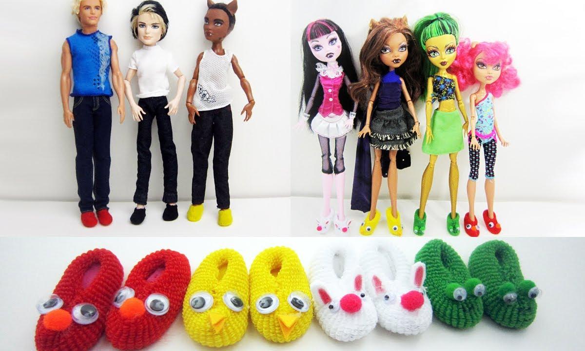 Manualidades para muñecas: Haz pantuflas / zapatillas / zapatos a ...