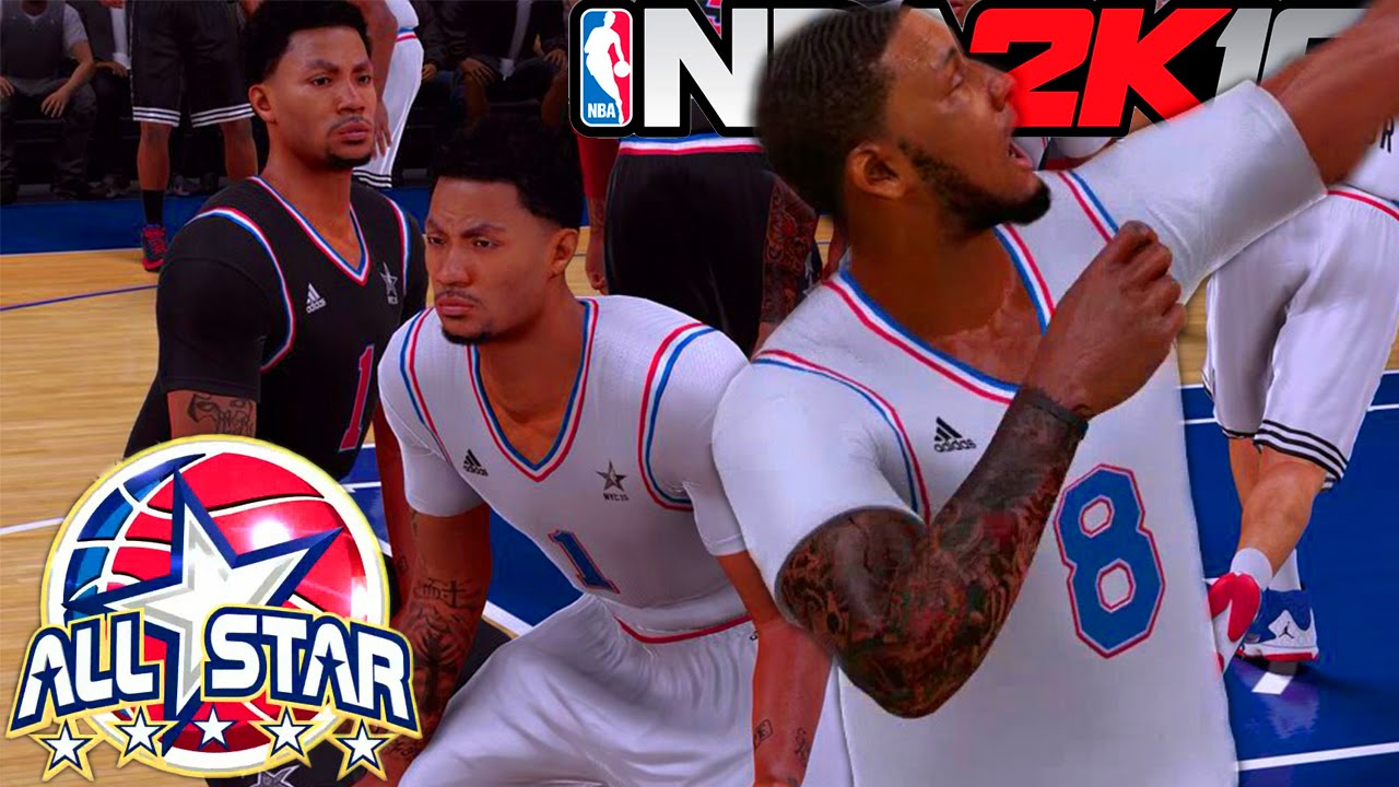 brand new f0bcc 28d35 NBA 2K16 My Career All-Star Game: Duplicate Derrick Rose - Raining 3s and  Dunking All Game!