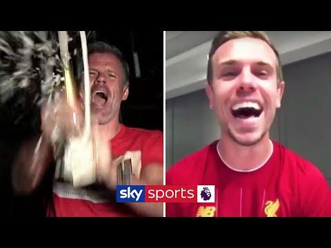 Jordan Henderson celebrates the Premier League title with Jamie Carragher 🍾🏆