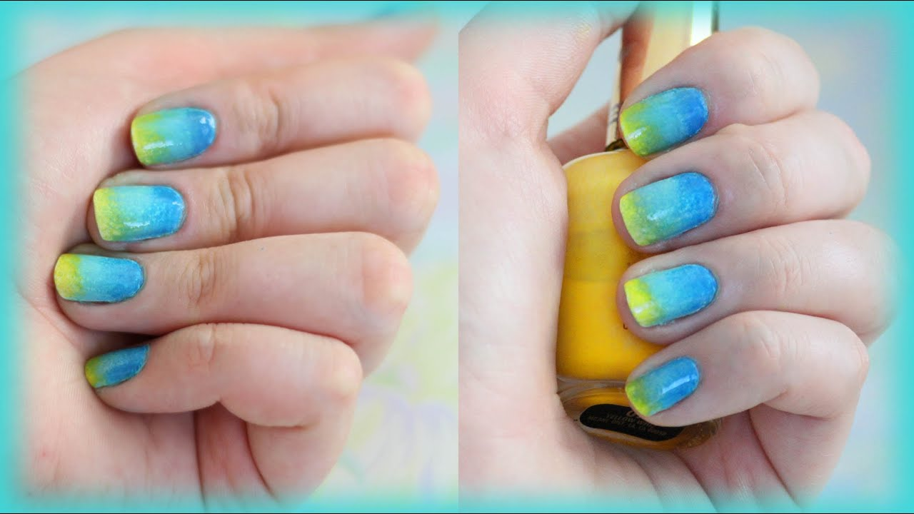 Neon Ombre Nail Art Design for Beginners. Beach Nails. - YouTube