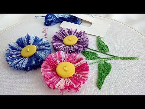 Hand Embroidery: Easy trick to make fluffy flowers  ArtesdOlga