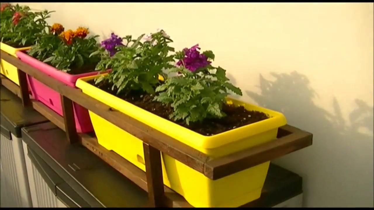 porta vasi fioriere con legna riciclata da vecchi bancali
