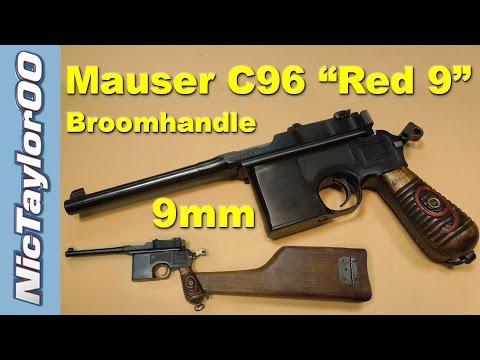 """Mauser 9mm C96 """"Red 9"""" Broom Handle Pistol"""