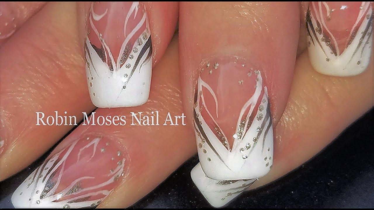 White Stripe Nails Elegant French Tip Nail Art Design Youtube