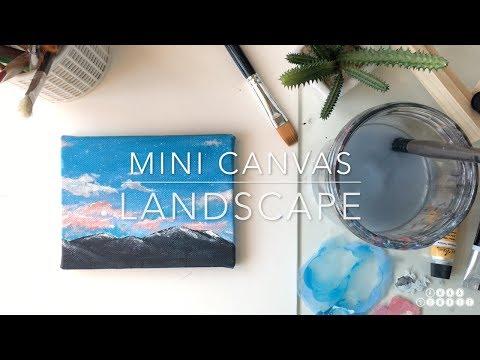 Mini canvas – Gouache landscape painting