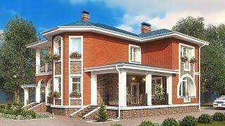Проект дома в современном стиле из кирпича. Дом с эркером, терраса и балкон.  Ремстройсервис KR-200