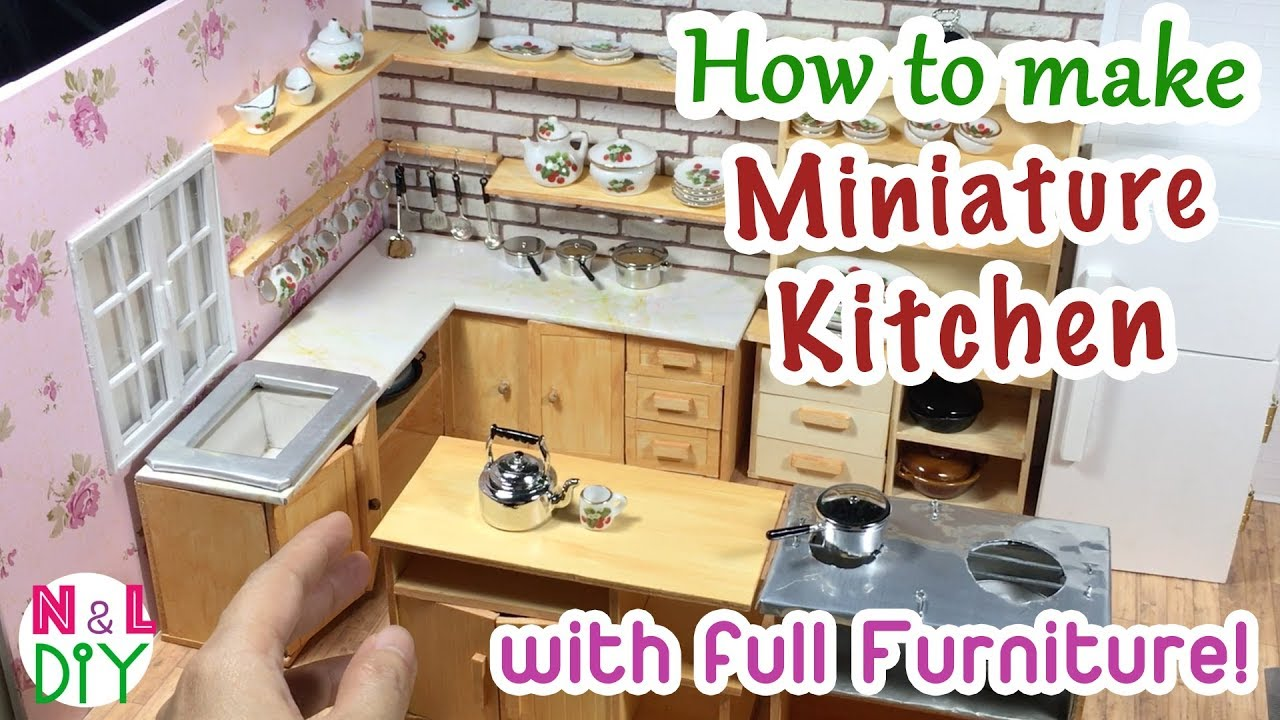 kitchen miniature yellow pine cabinets diy room for dollhouse how to make a with full furniture