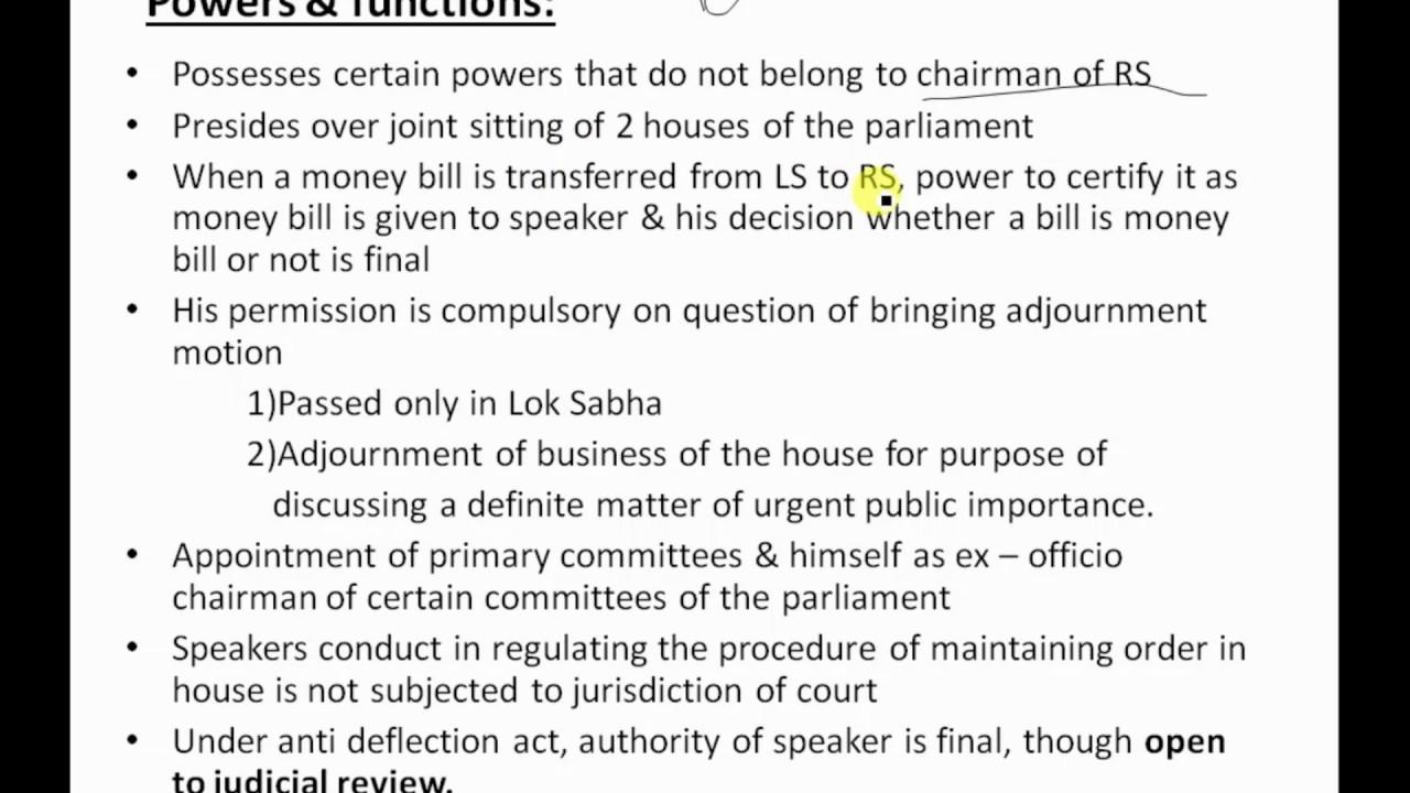 indian polity - speaker of loksabha - upsc - group 1 & group 2