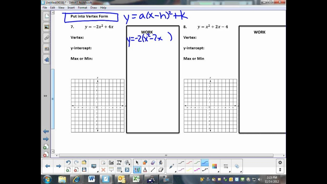 Precalculus Unti 2 6 Graphing Parabolas Worksheet