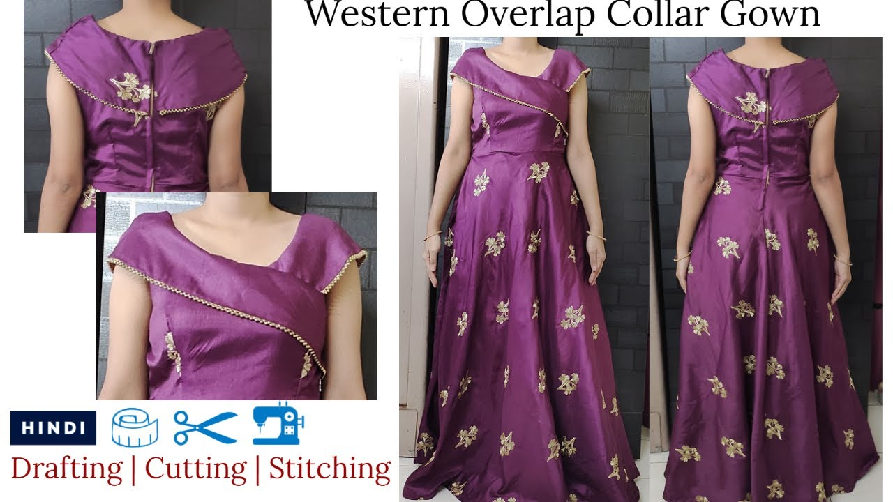 Western Overlap Collar Gown | Party Wear Long Gown | Designer Wrap Collar Gown