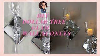 DOLLAR TREE DIY CRYSTAL & GLAM WALL SCONCES | BEAUTIFUL WALL DECOR | CANDLE HOLDER