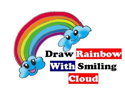 how to draw rainbow step by step for kids easy smiling colors cloud