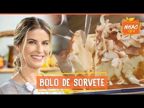 Bolo de sorvete com calda de caramelo e lascas de coco  Rita Lobo  Cozinha Prática