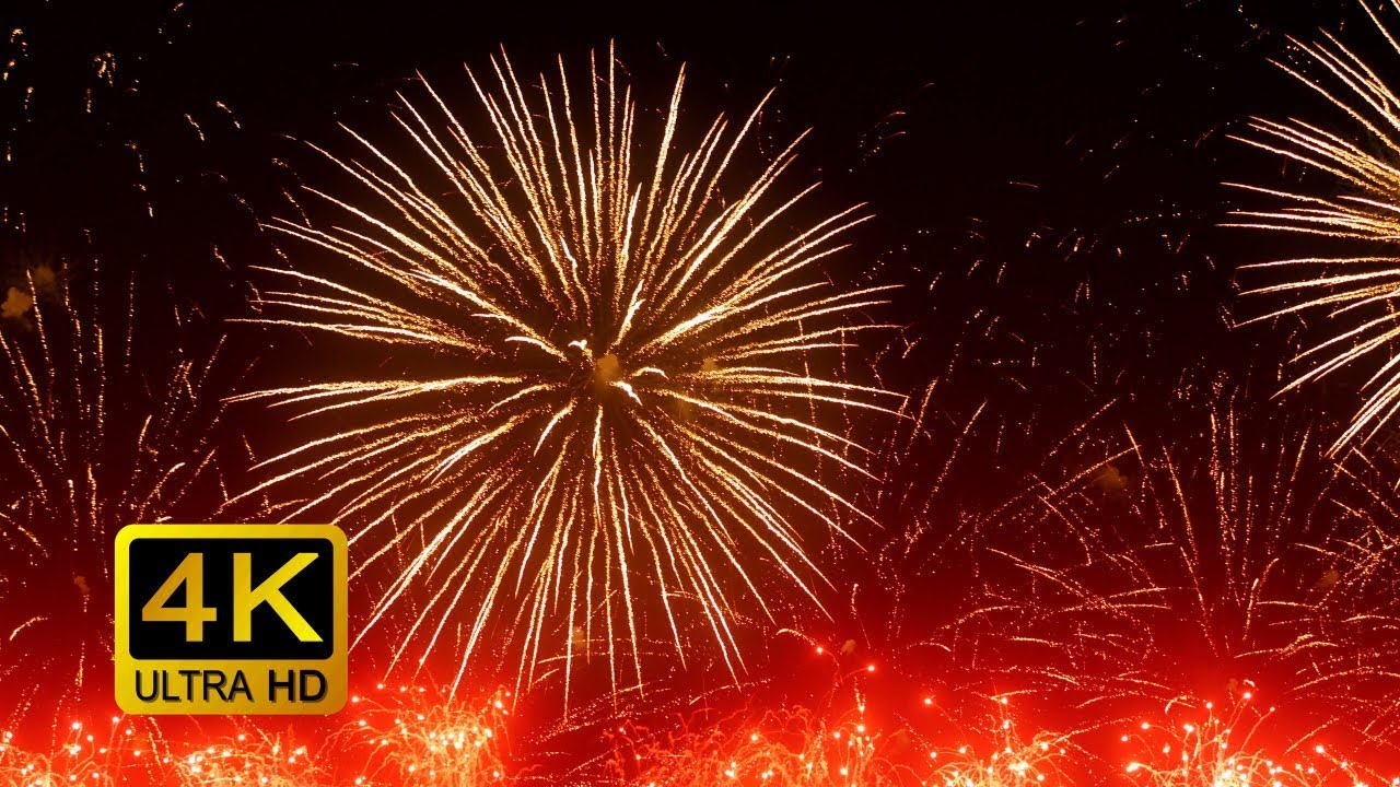 Colorful Firework With Sounds  Screensaver  4k Ultrahd