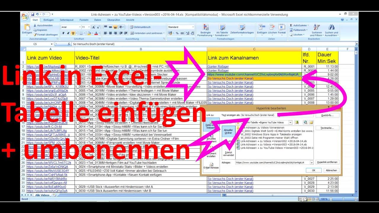 Excel Arbeitsblätter Umbenennen : X link in excel tabelle erstellen umbenennen youtube