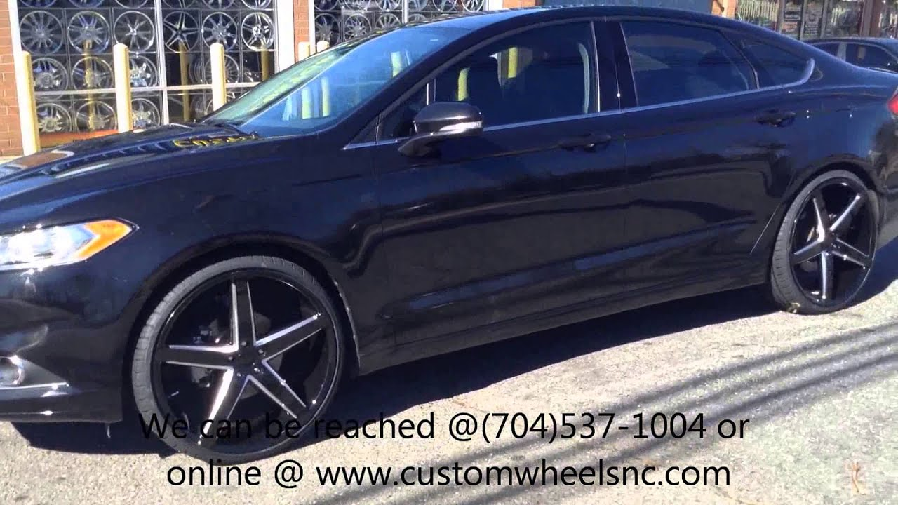 """Ford Fusion On 22s >> 2013 Ford Fusion Rolling out of Rimtyme of Charlotte sitting on 22"""" Rosso Affinity Wheels - YouTube"""