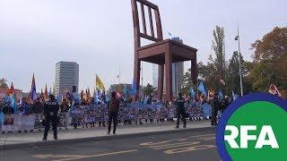 Người Việt Âu Châu biểu tình trước Hội đồng Nhân Quyền LHQ nhân kiểm điểm nhân quyền của TQ